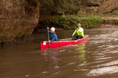 Two participants in a canoe