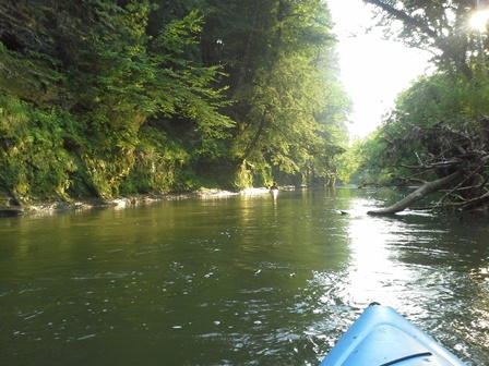 A view down the Kickapoo River from a Kayak