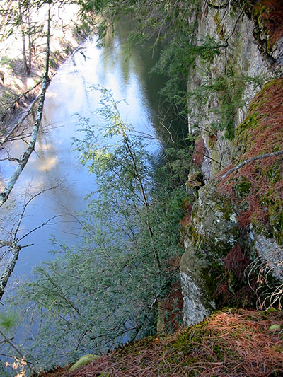 View of Kickapoo River looking dwon along a rockface